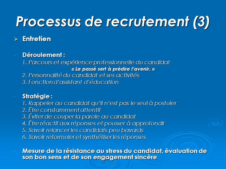 Processus de recrutement (3) Entretien Entretien - Déroulement : 1. Parcours et expérience professionnelle du candidat « Le passé sert à prédire laven