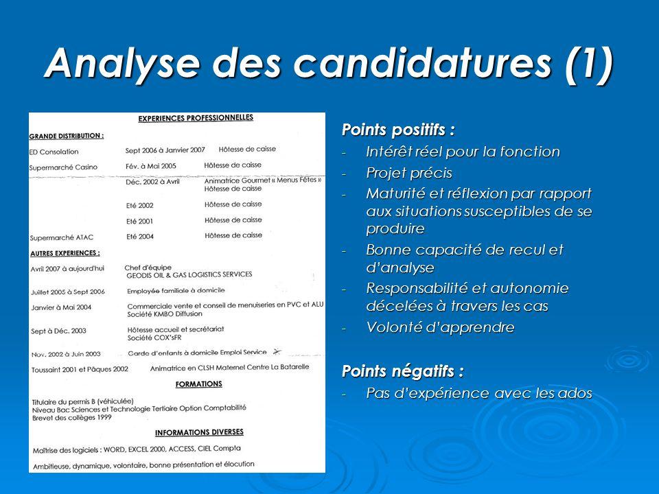 Analyse des candidatures (1) Points positifs : - Intérêt réel pour la fonction - Projet précis - Maturité et réflexion par rapport aux situations susc