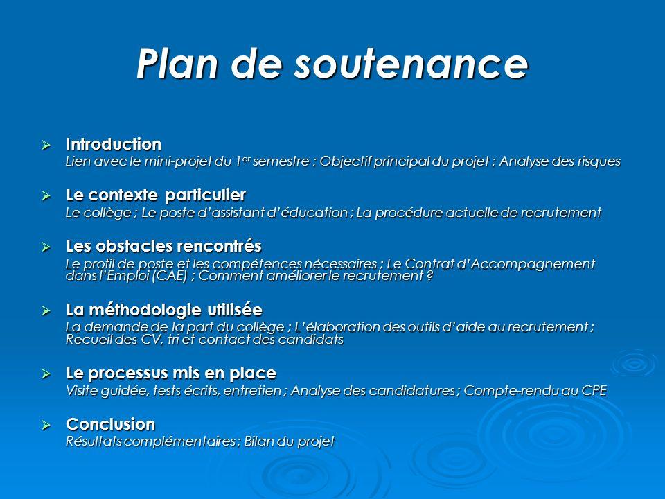 Plan de soutenance Introduction Introduction Lien avec le mini-projet du 1 er semestre ; Objectif principal du projet ; Analyse des risques Le context
