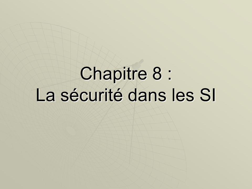 32 Plan du chapitre 1.Les enjeu de la sécurité 1.Les enjeu de la sécurité 1.1Notion de sinistre1.1Notion de sinistre 1.2 Notion de risques1.2 Notion de risques 2.Concept de sécurité des SI 2.Concept de sécurité des SI 3.