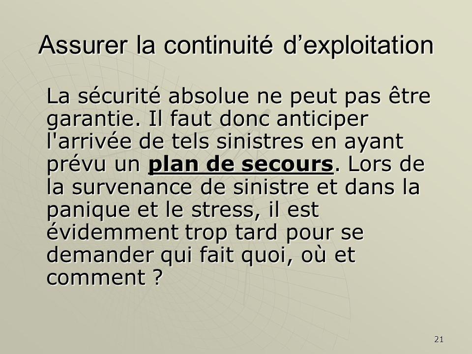 21 Assurer la continuité dexploitation La sécurité absolue ne peut pas être garantie. Il faut donc anticiper l'arrivée de tels sinistres en ayant prév