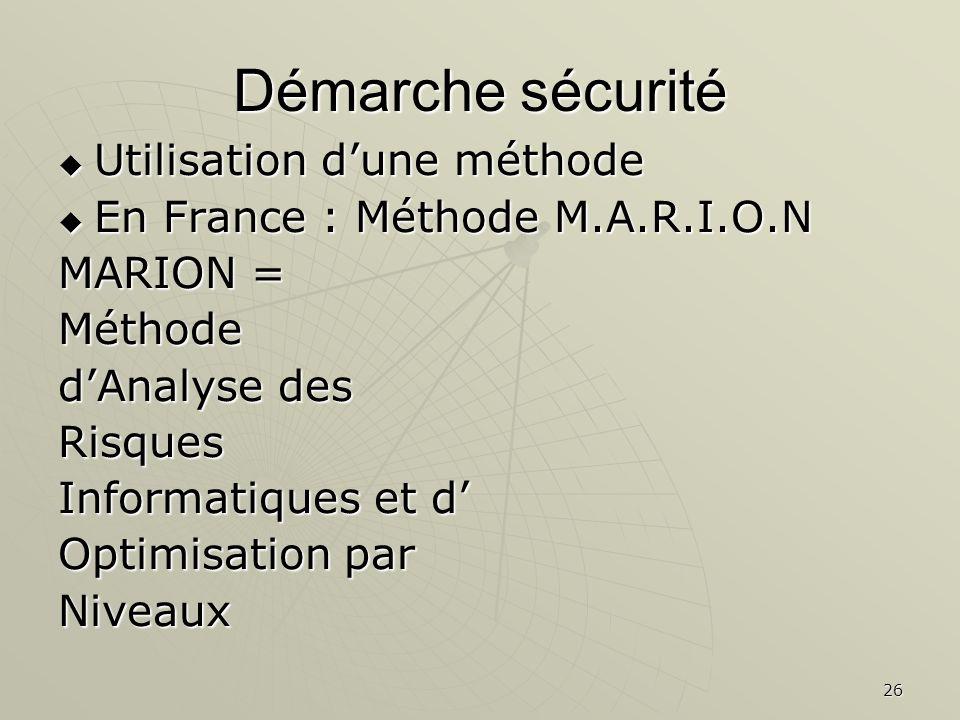 26 Démarche sécurité Utilisation dune méthode Utilisation dune méthode En France : Méthode M.A.R.I.O.N En France : Méthode M.A.R.I.O.N MARION = Méthode dAnalyse des Risques Informatiques et d Optimisation par Niveaux