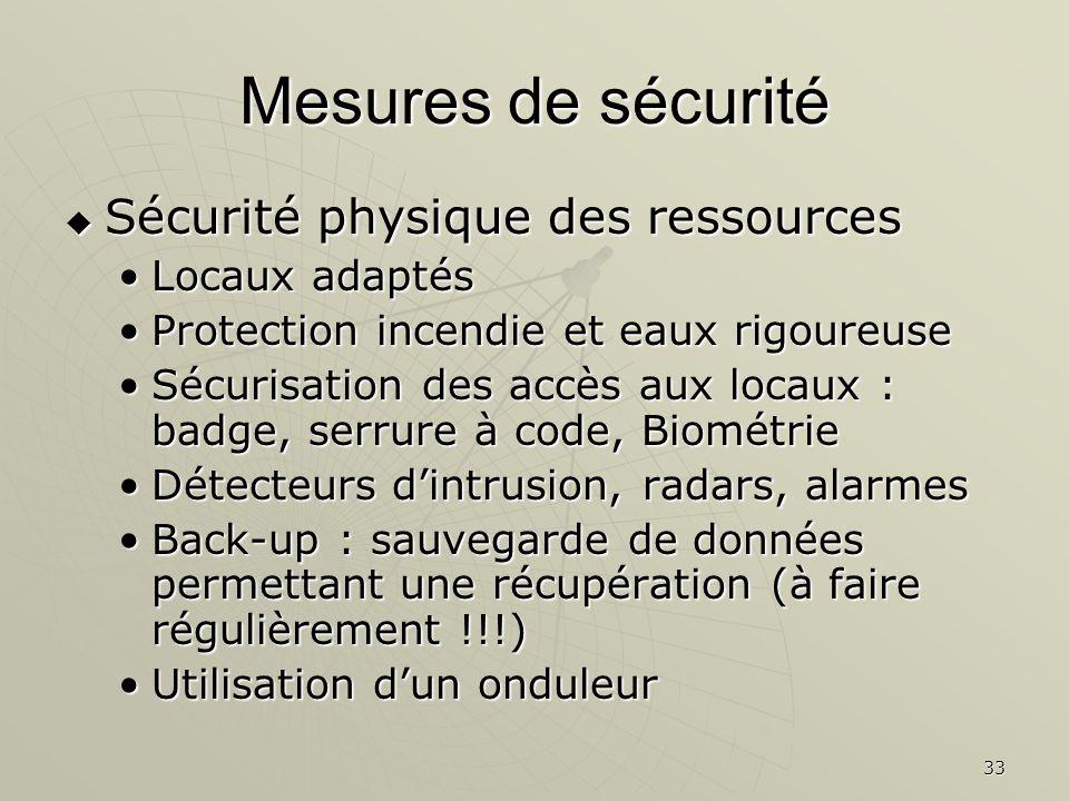 33 Mesures de sécurité Sécurité physique des ressources Sécurité physique des ressources Locaux adaptésLocaux adaptés Protection incendie et eaux rigo