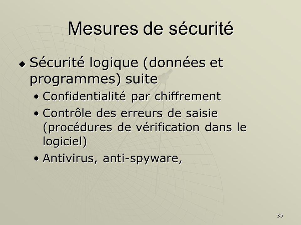 35 Mesures de sécurité Sécurité logique (données et programmes) suite Sécurité logique (données et programmes) suite Confidentialité par chiffrementConfidentialité par chiffrement Contrôle des erreurs de saisie (procédures de vérification dans le logiciel)Contrôle des erreurs de saisie (procédures de vérification dans le logiciel) Antivirus, anti-spyware,Antivirus, anti-spyware,