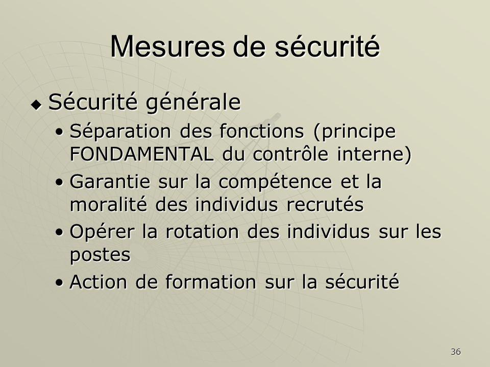 36 Mesures de sécurité Sécurité générale Sécurité générale Séparation des fonctions (principe FONDAMENTAL du contrôle interne)Séparation des fonctions