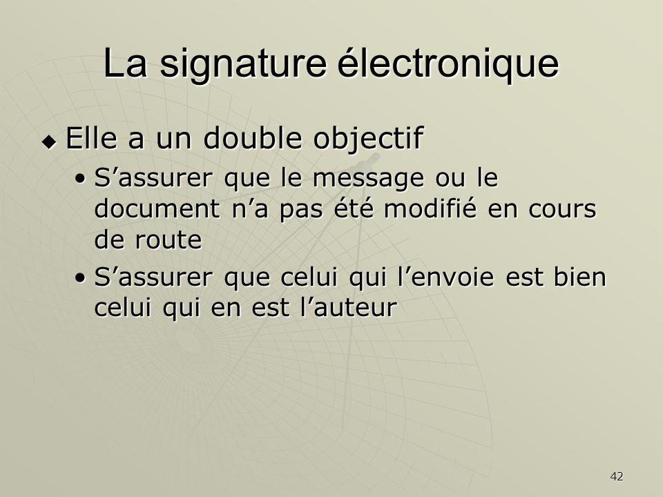 42 La signature électronique Elle a un double objectif Elle a un double objectif Sassurer que le message ou le document na pas été modifié en cours de