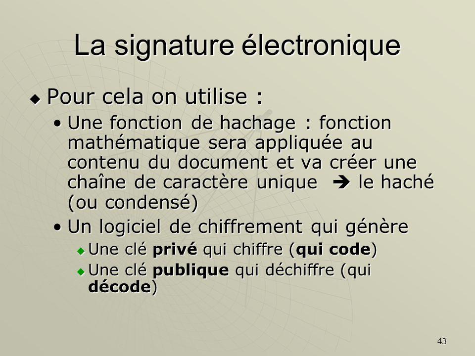43 La signature électronique Pour cela on utilise : Pour cela on utilise : Une fonction de hachage : fonction mathématique sera appliquée au contenu d