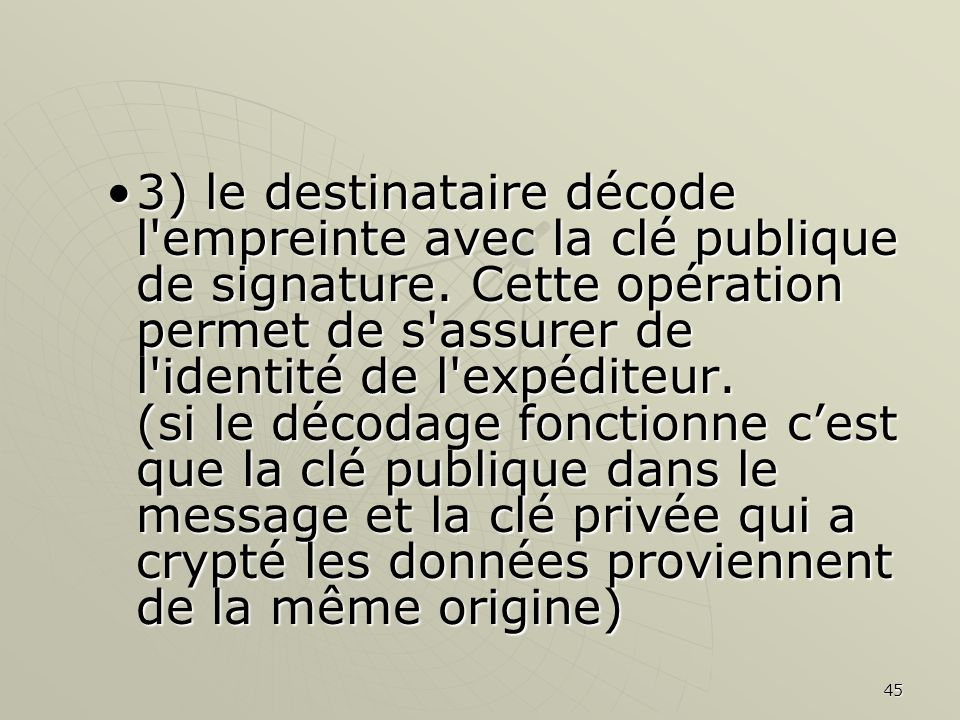 45 3) le destinataire décode l empreinte avec la clé publique de signature.