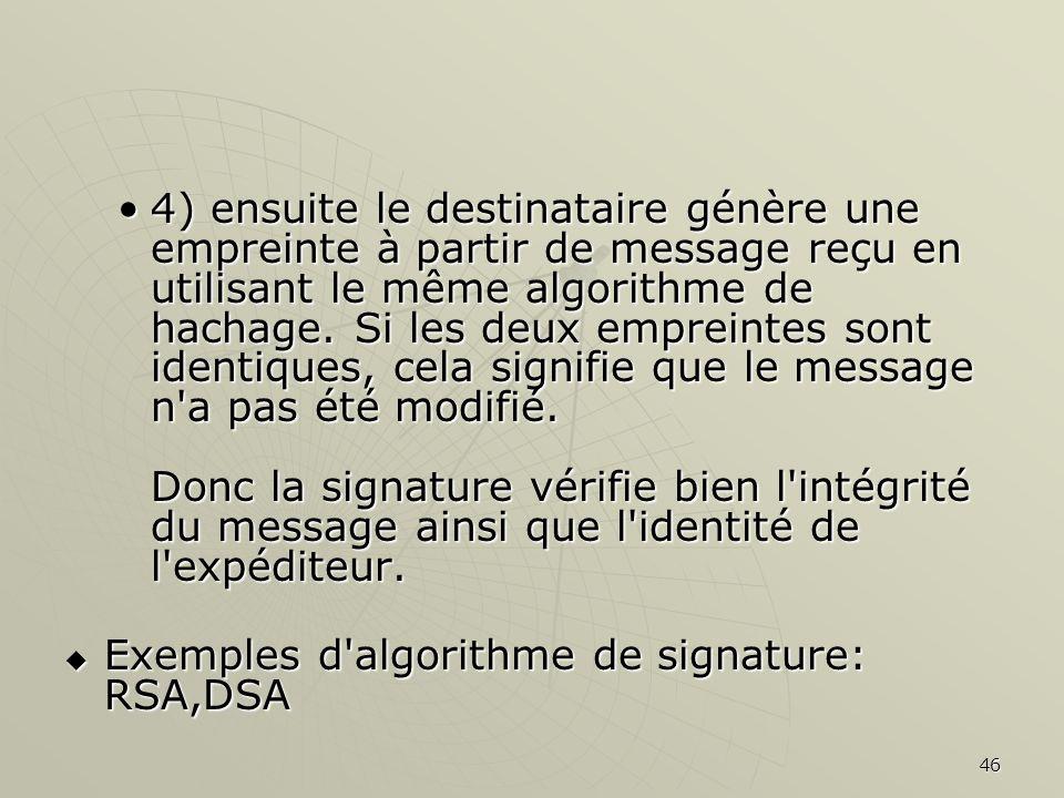46 4) ensuite le destinataire génère une empreinte à partir de message reçu en utilisant le même algorithme de hachage. Si les deux empreintes sont id