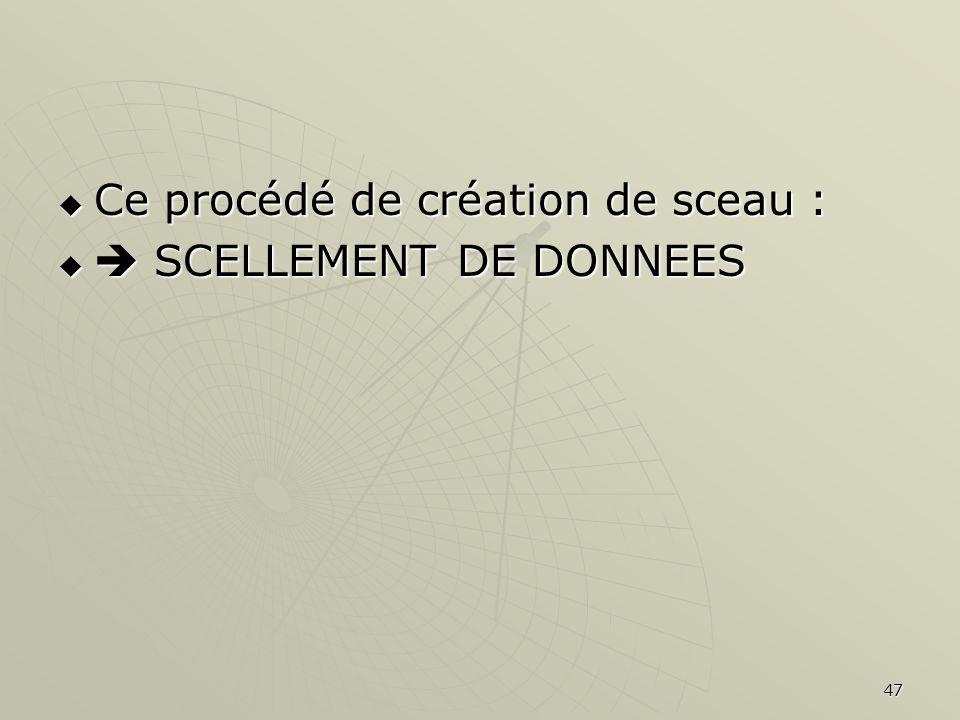 47 Ce procédé de création de sceau : Ce procédé de création de sceau : SCELLEMENT DE DONNEES SCELLEMENT DE DONNEES