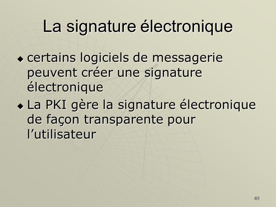 49 La signature électronique certains logiciels de messagerie peuvent créer une signature électronique certains logiciels de messagerie peuvent créer une signature électronique La PKI gère la signature électronique de façon transparente pour lutilisateur La PKI gère la signature électronique de façon transparente pour lutilisateur