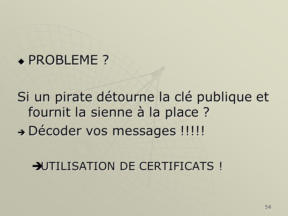 54 PROBLEME ? PROBLEME ? Si un pirate détourne la clé publique et fournit la sienne à la place ? Décoder vos messages !!!!! Décoder vos messages !!!!!