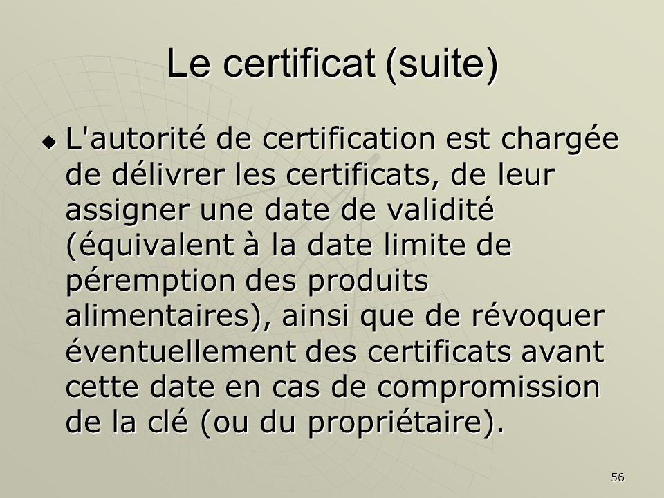 56 Le certificat (suite) L autorité de certification est chargée de délivrer les certificats, de leur assigner une date de validité (équivalent à la date limite de péremption des produits alimentaires), ainsi que de révoquer éventuellement des certificats avant cette date en cas de compromission de la clé (ou du propriétaire).