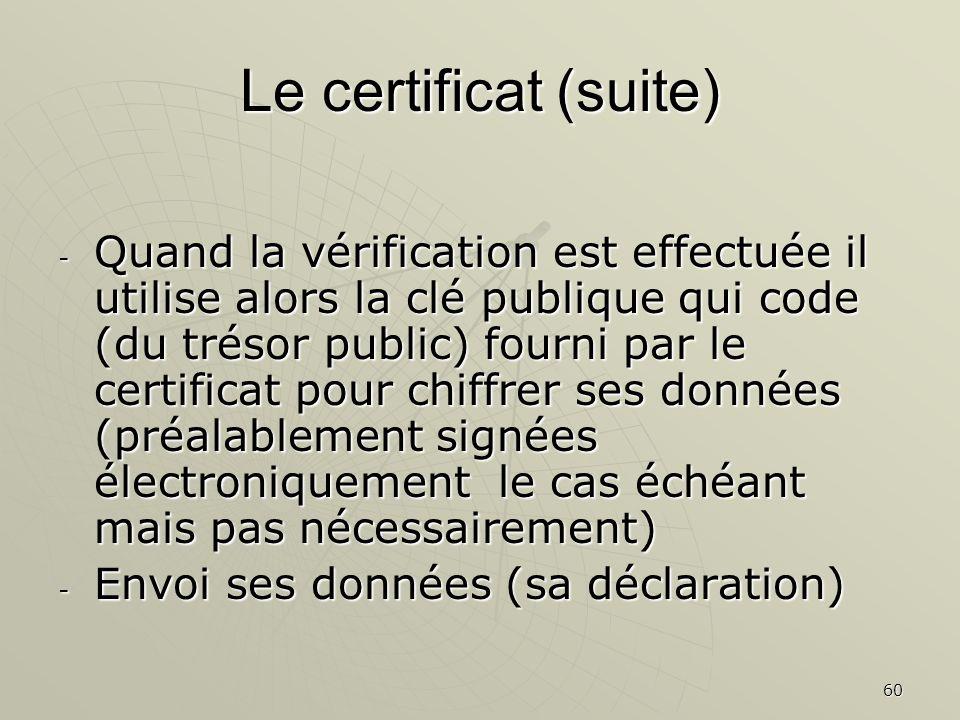 60 Le certificat (suite) - Quand la vérification est effectuée il utilise alors la clé publique qui code (du trésor public) fourni par le certificat pour chiffrer ses données (préalablement signées électroniquement le cas échéant mais pas nécessairement) - Envoi ses données (sa déclaration)