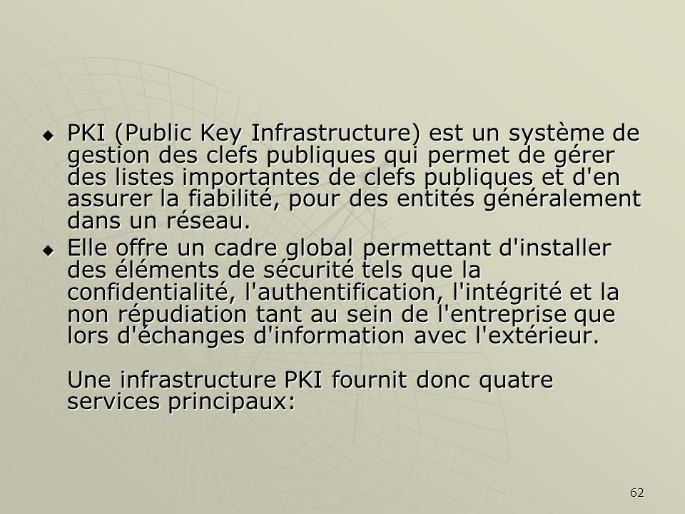 62 PKI (Public Key Infrastructure) est un système de gestion des clefs publiques qui permet de gérer des listes importantes de clefs publiques et d en assurer la fiabilité, pour des entités généralement dans un réseau.