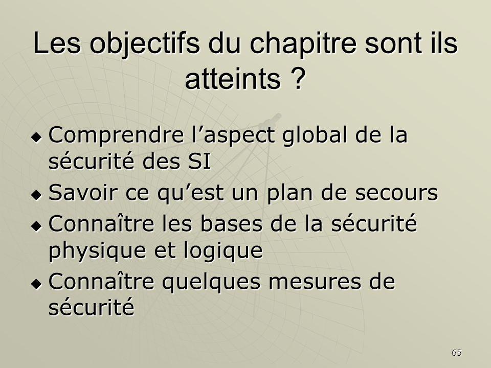 65 Les objectifs du chapitre sont ils atteints ? Comprendre laspect global de la sécurité des SI Comprendre laspect global de la sécurité des SI Savoi