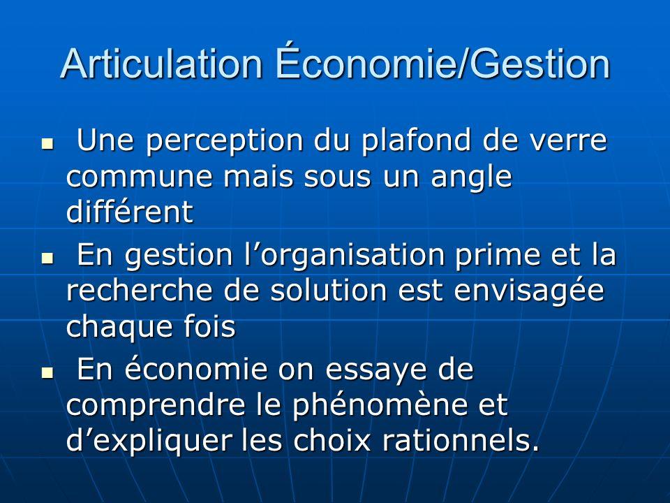 Articulation Économie/Gestion Une perception du plafond de verre commune mais sous un angle différent Une perception du plafond de verre commune mais