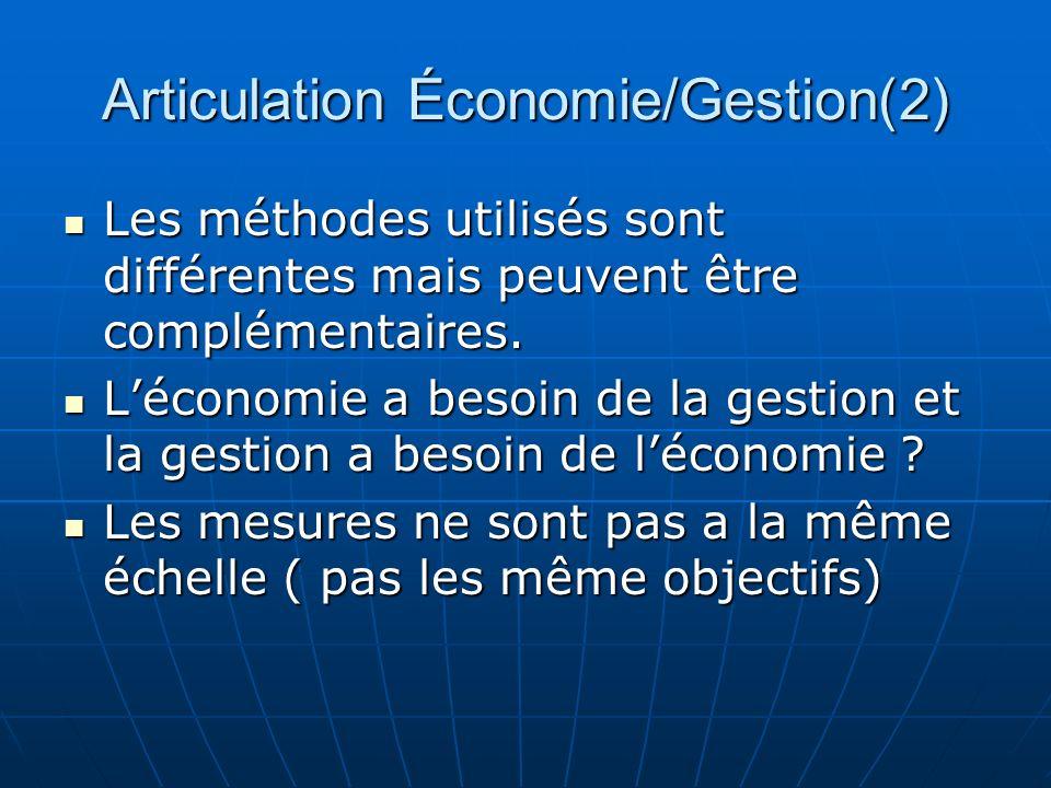 Articulation Économie/Gestion(2) Les méthodes utilisés sont différentes mais peuvent être complémentaires. Les méthodes utilisés sont différentes mais