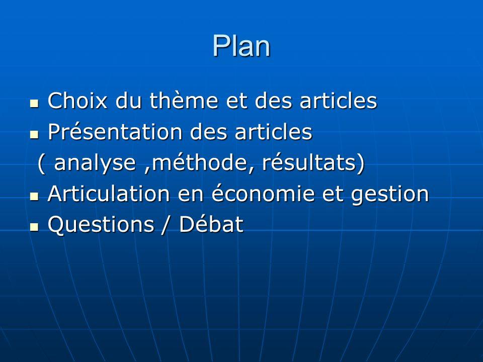 Plan Choix du thème et des articles Choix du thème et des articles Présentation des articles Présentation des articles ( analyse,méthode, résultats) (