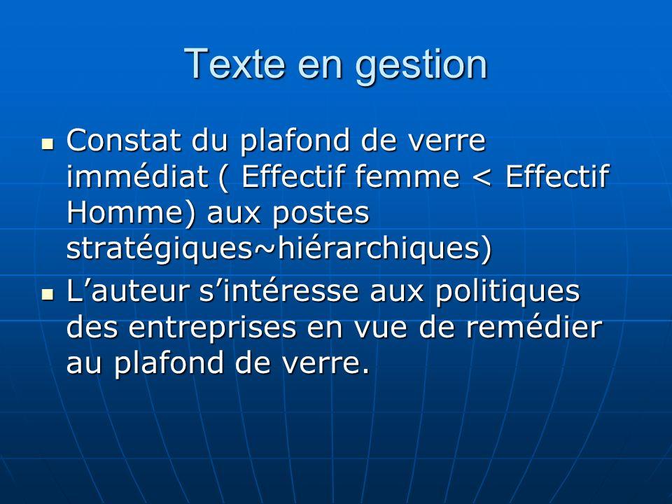 Texte en gestion Constat du plafond de verre immédiat ( Effectif femme < Effectif Homme) aux postes stratégiques~hiérarchiques) Constat du plafond de