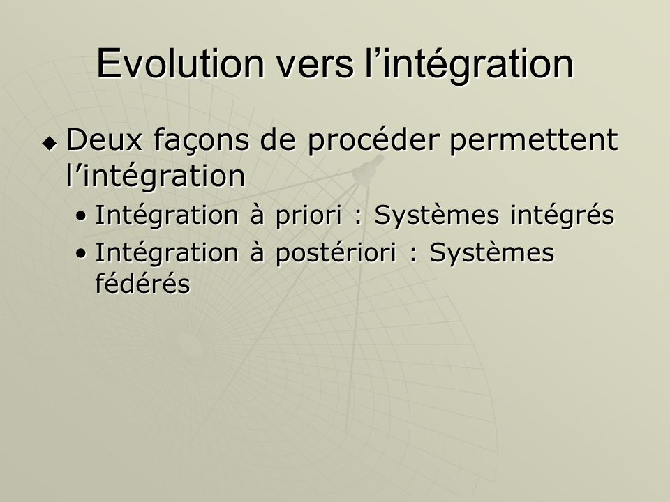 Evolution vers lintégration Deux façons de procéder permettent lintégration Deux façons de procéder permettent lintégration Intégration à priori : Sys