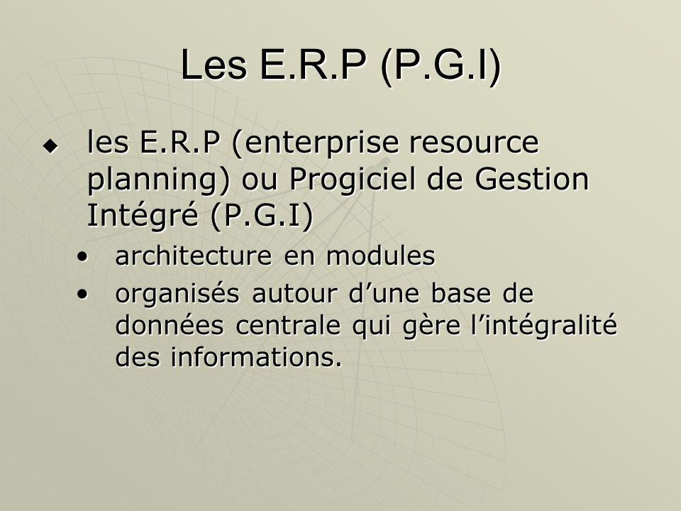 Les E.R.P (P.G.I) les E.R.P (enterprise resource planning) ou Progiciel de Gestion Intégré (P.G.I) les E.R.P (enterprise resource planning) ou Progici