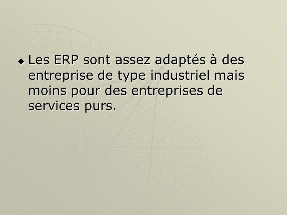 Les ERP sont assez adaptés à des entreprise de type industriel mais moins pour des entreprises de services purs. Les ERP sont assez adaptés à des entr