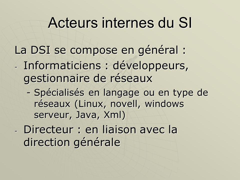 Acteurs internes du SI La DSI se compose en général : - Informaticiens : développeurs, gestionnaire de réseaux -Spécialisés en langage ou en type de r