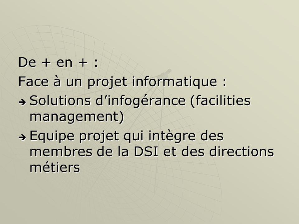 De + en + : Face à un projet informatique : Solutions dinfogérance (facilities management) Solutions dinfogérance (facilities management) Equipe proje