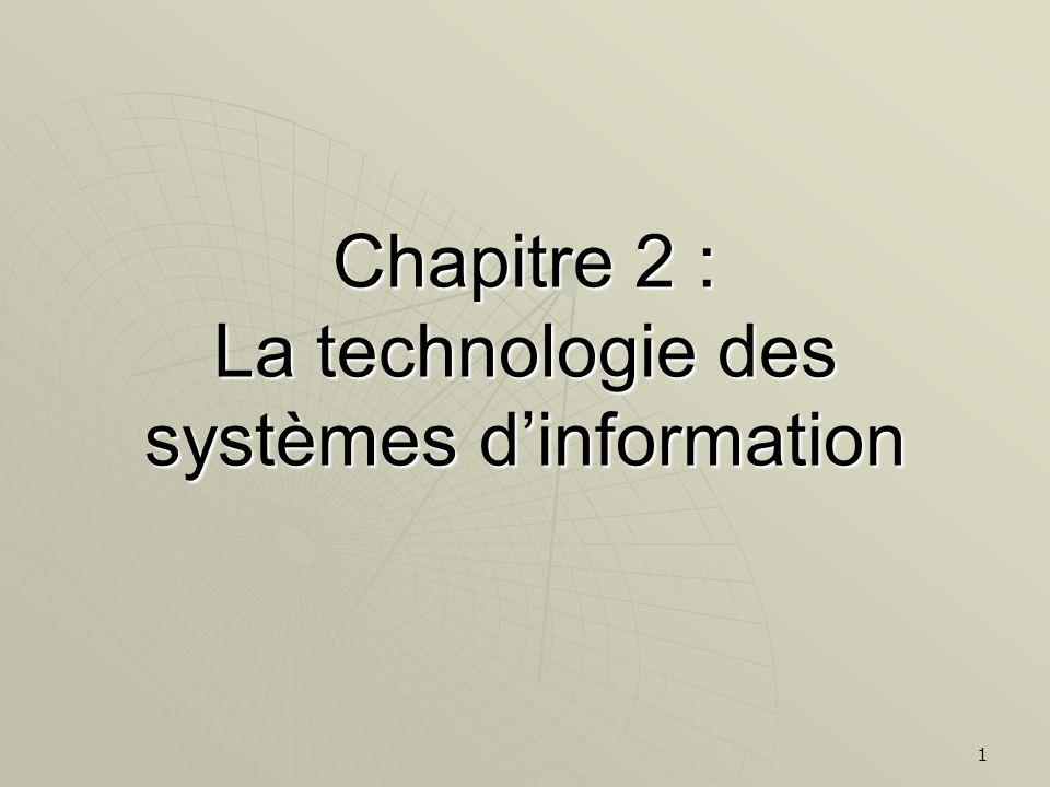 1 Chapitre 2 : La technologie des systèmes dinformation