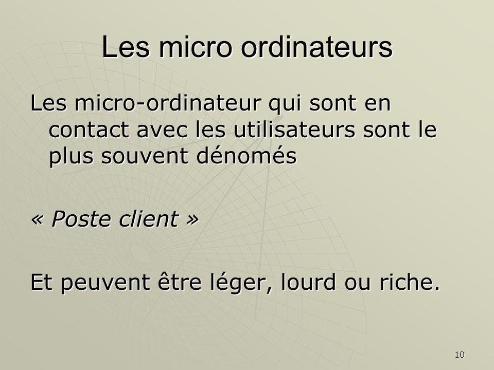 10 Les micro ordinateurs Les micro-ordinateur qui sont en contact avec les utilisateurs sont le plus souvent dénomés « Poste client » Et peuvent être