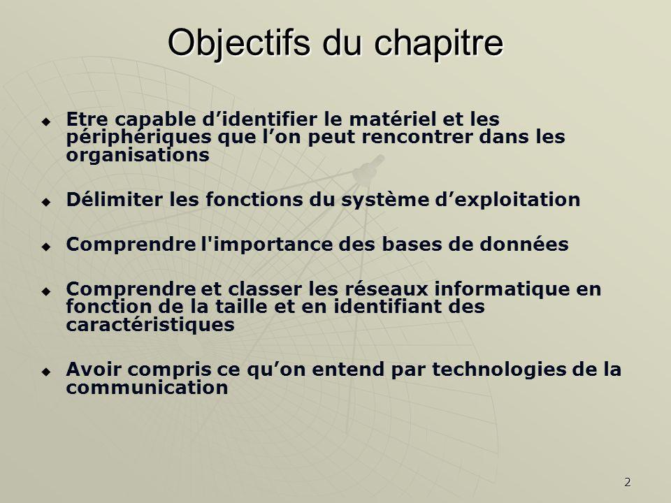 2 Objectifs du chapitre Etre capable didentifier le matériel et les périphériques que lon peut rencontrer dans les organisations Délimiter les fonctio