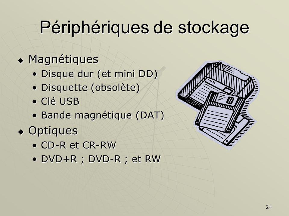 24 Périphériques de stockage Magnétiques Magnétiques Disque dur (et mini DD)Disque dur (et mini DD) Disquette (obsolète)Disquette (obsolète) Clé USBCl