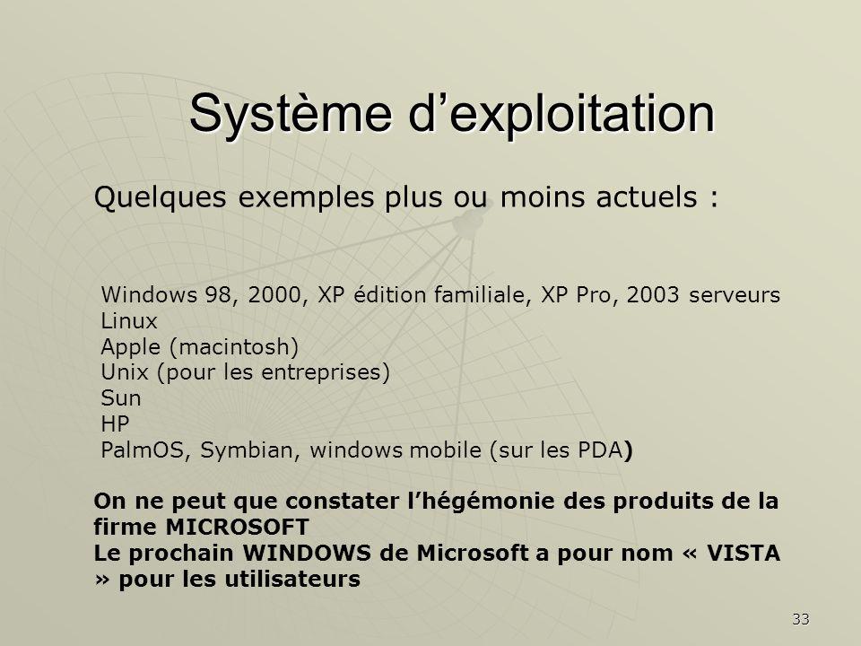 33 Système dexploitation Quelques exemples plus ou moins actuels : Windows 98, 2000, XP édition familiale, XP Pro, 2003 serveurs Linux Apple (macintos