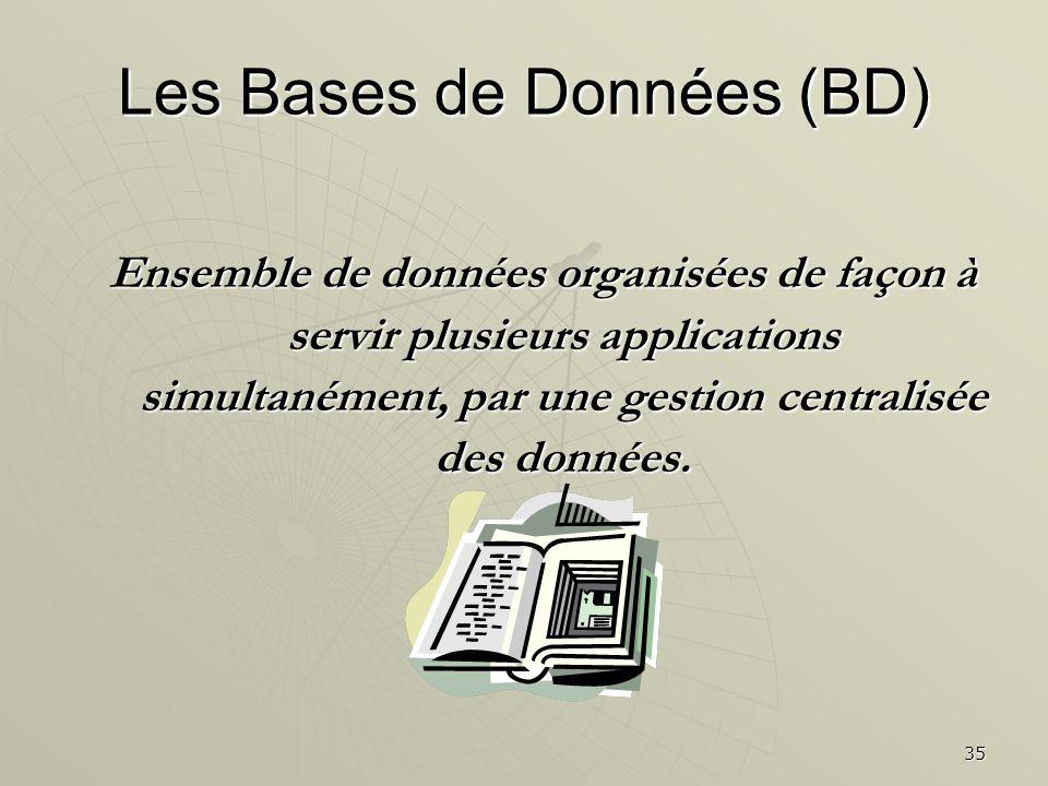 35 Les Bases de Données (BD) Ensemble de données organisées de façon à servir plusieurs applications simultanément, par une gestion centralisée des do