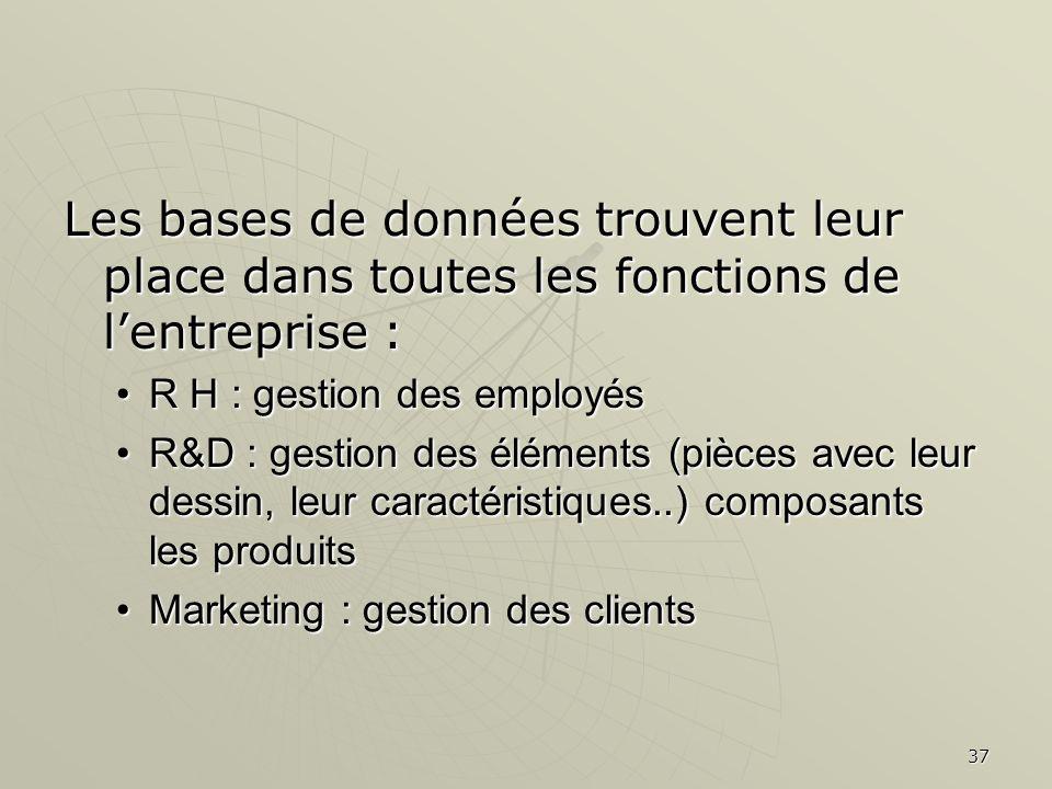 37 Les bases de données trouvent leur place dans toutes les fonctions de lentreprise : R H : gestion des employésR H : gestion des employés R&D : gest