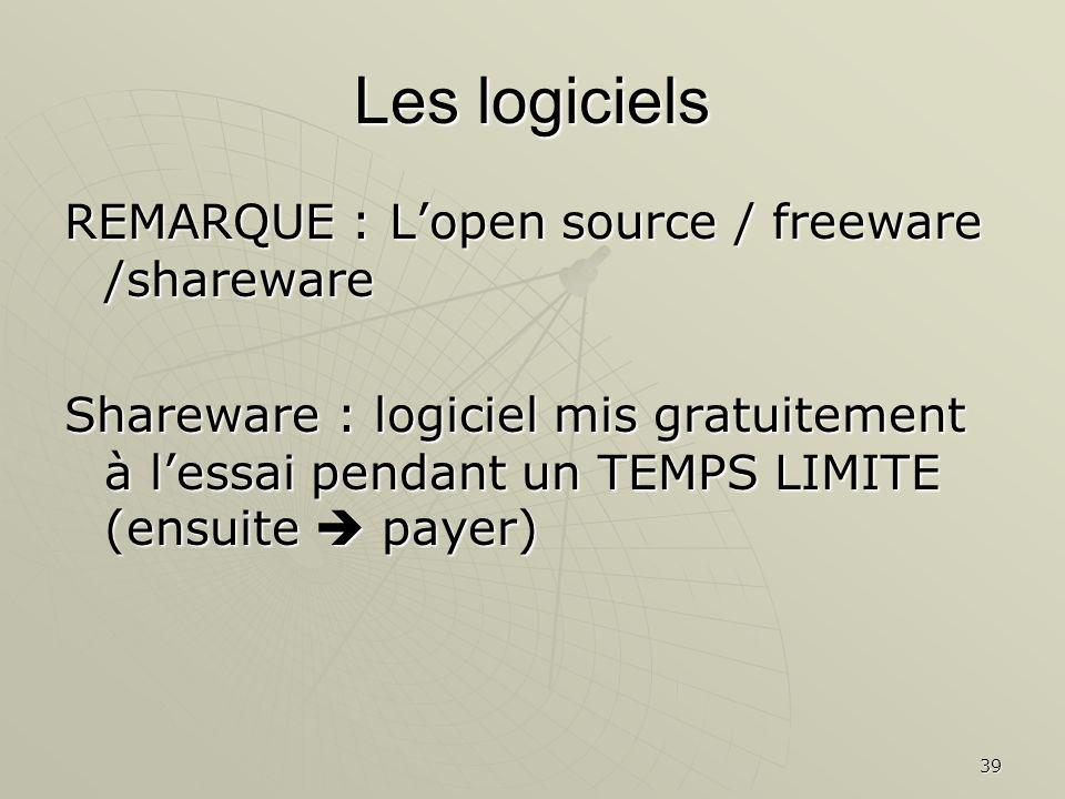 39 Les logiciels REMARQUE : Lopen source / freeware /shareware Shareware : logiciel mis gratuitement à lessai pendant un TEMPS LIMITE (ensuite payer)