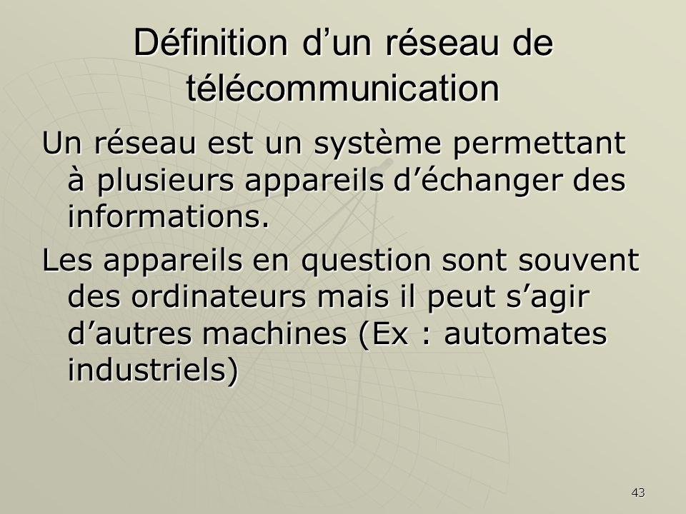 43 Définition dun réseau de télécommunication Un réseau est un système permettant à plusieurs appareils déchanger des informations. Les appareils en q