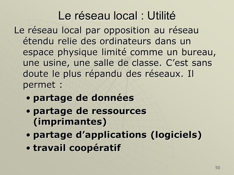 50 Le réseau local : Utilité Le réseau local par opposition au réseau étendu relie des ordinateurs dans un espace physique limité comme un bureau, une