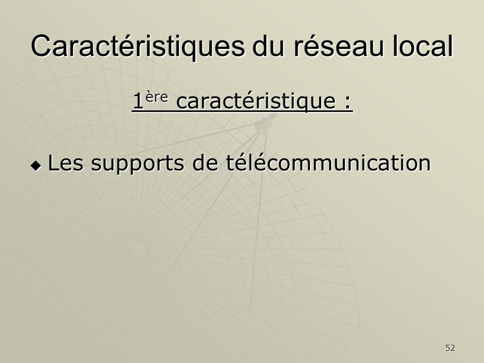 52 Caractéristiques du réseau local 1 ère caractéristique : Les supports de télécommunication Les supports de télécommunication