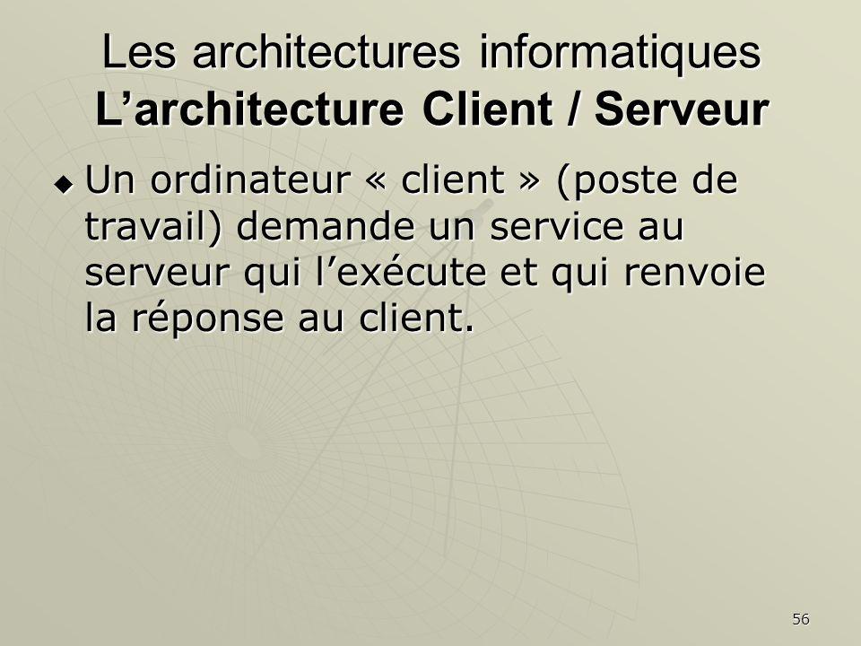 56 Un ordinateur « client » (poste de travail) demande un service au serveur qui lexécute et qui renvoie la réponse au client. Un ordinateur « client