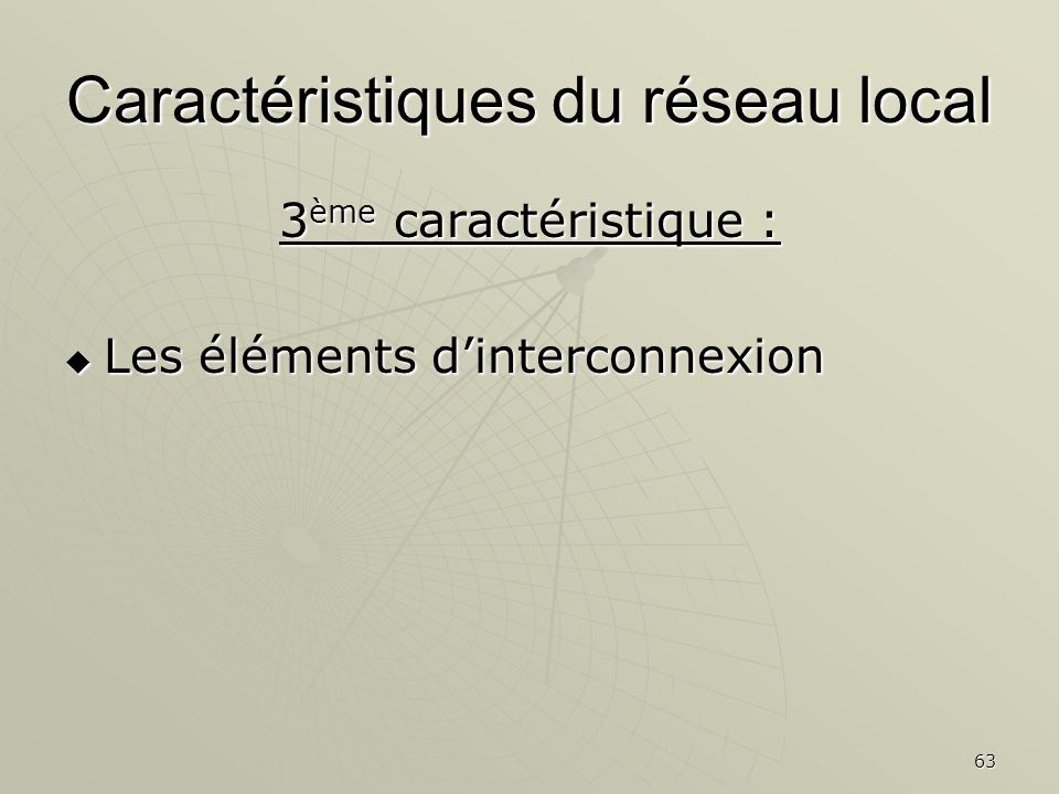 63 Caractéristiques du réseau local 3 ème caractéristique : Les éléments dinterconnexion Les éléments dinterconnexion