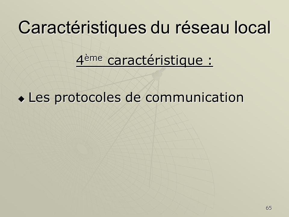 65 Caractéristiques du réseau local 4 ème caractéristique : Les protocoles de communication Les protocoles de communication