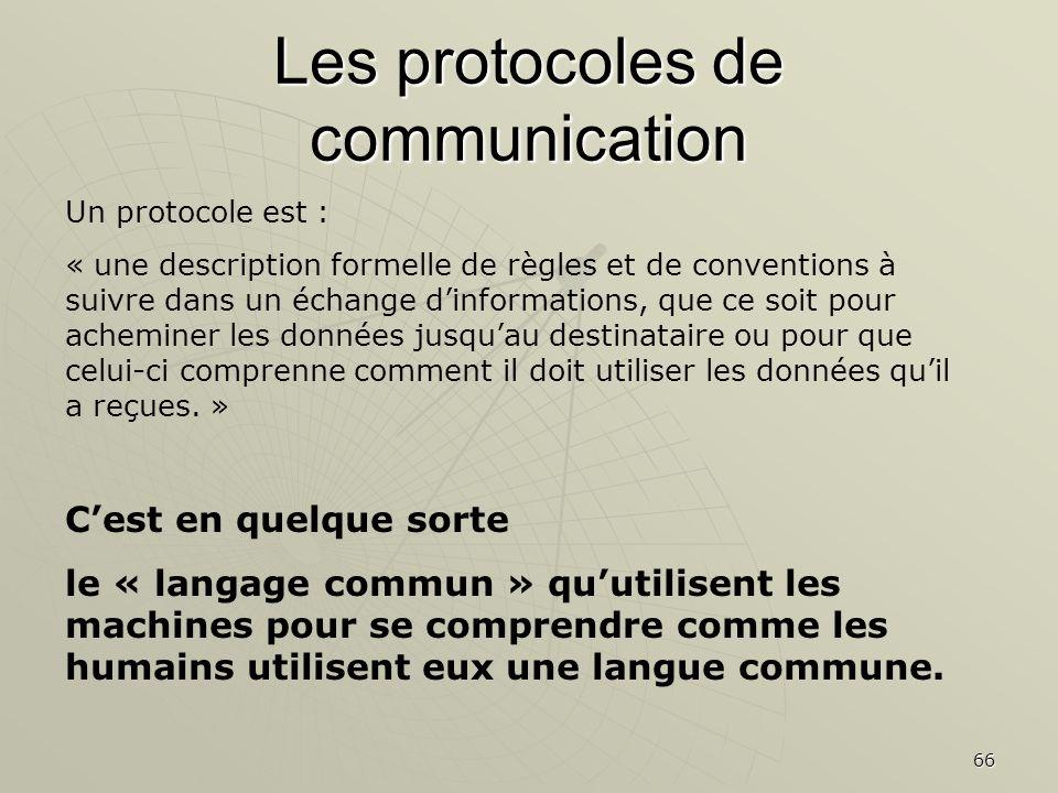 66 Les protocoles de communication Un protocole est : « une description formelle de règles et de conventions à suivre dans un échange dinformations, q