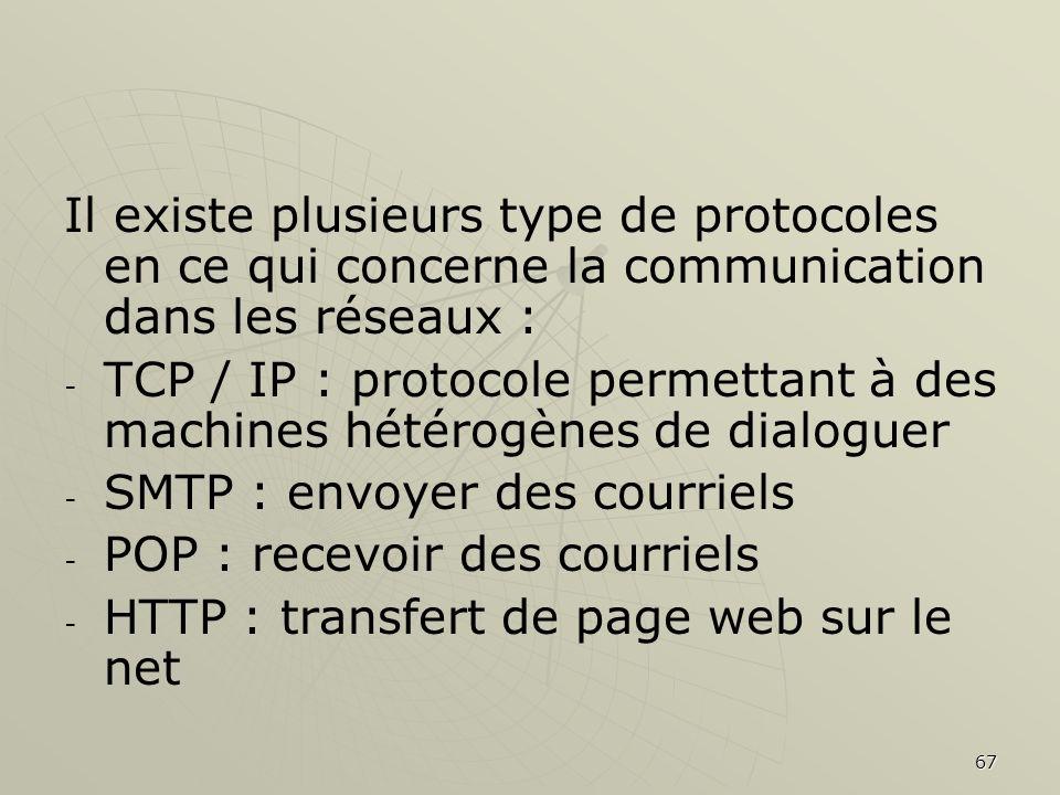 67 Il existe plusieurs type de protocoles en ce qui concerne la communication dans les réseaux : - - TCP / IP : protocole permettant à des machines hé