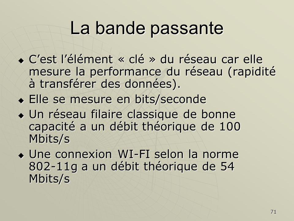71 La bande passante Cest lélément « clé » du réseau car elle mesure la performance du réseau (rapidité à transférer des données). Cest lélément « clé