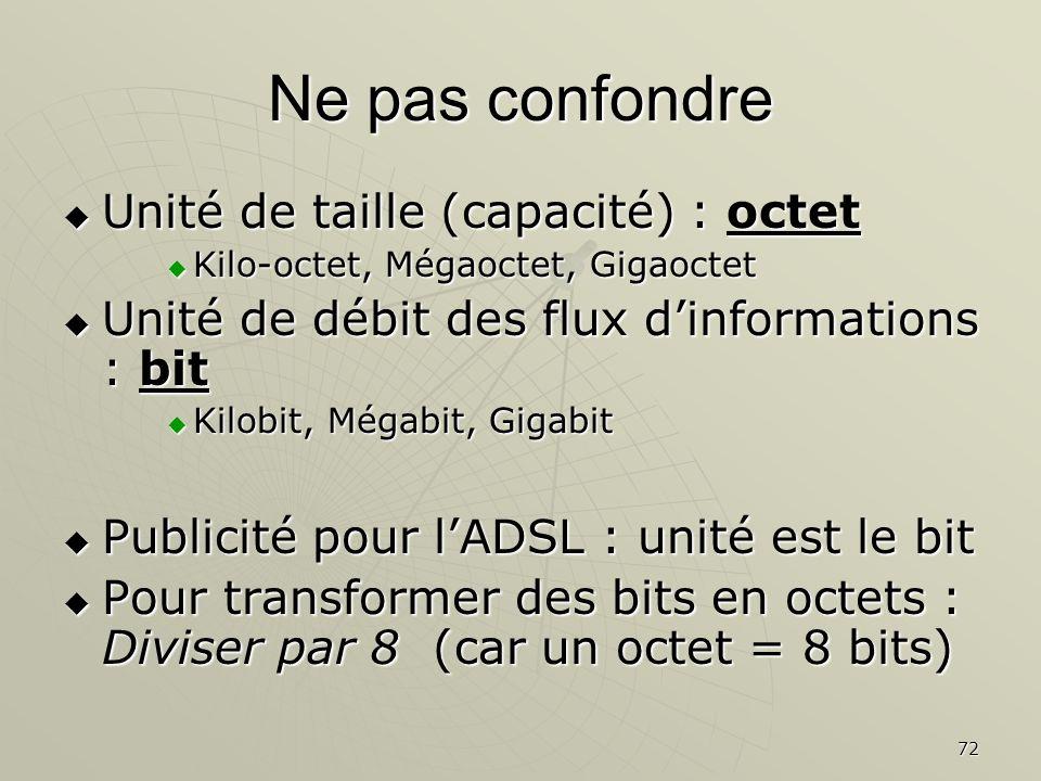 72 Ne pas confondre Unité de taille (capacité) : octet Unité de taille (capacité) : octet Kilo-octet, Mégaoctet, Gigaoctet Kilo-octet, Mégaoctet, Giga