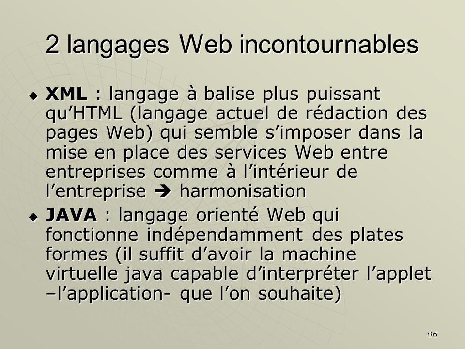 96 2 langages Web incontournables XML : langage à balise plus puissant quHTML (langage actuel de rédaction des pages Web) qui semble simposer dans la