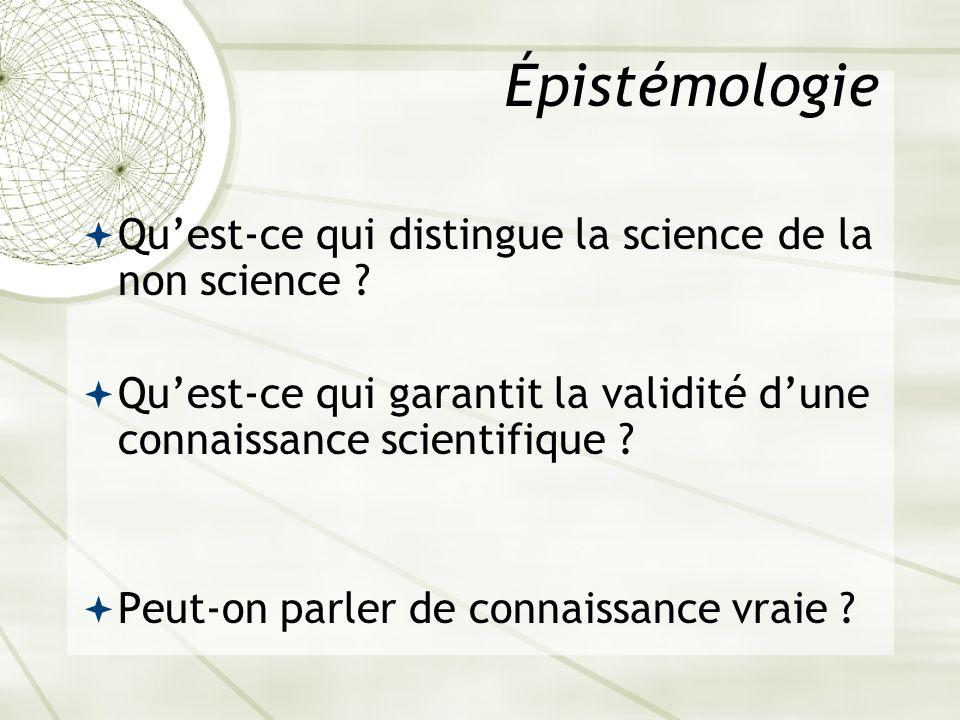 Épistémologie Quest-ce qui distingue la science de la non science ? Quest-ce qui garantit la validité dune connaissance scientifique ? Peut-on parler