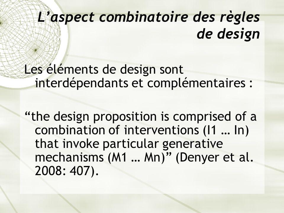 Laspect combinatoire des règles de design Les éléments de design sont interdépendants et complémentaires : the design proposition is comprised of a co